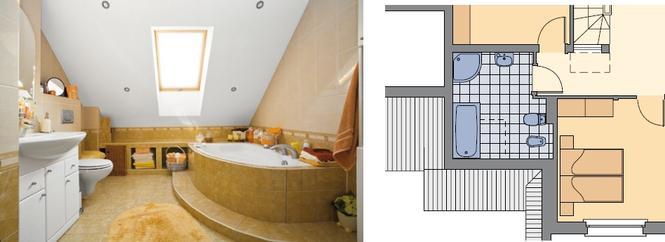 Łazienka na poddaszu z asymetryczną wanną